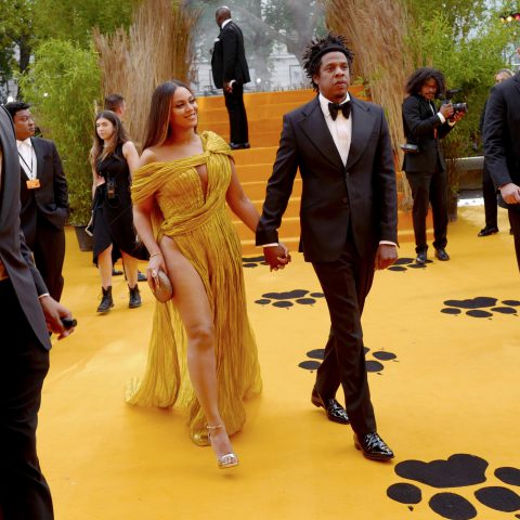 14 July 2019: Beyoncé Knowles-Carter and Jay-Z attending the European premiere of Disney's remake of The Lion King at the Odeon Luxe Leicester Square in London, England. (Photograph by Gareth Cattermole/Getty Images for Disney)