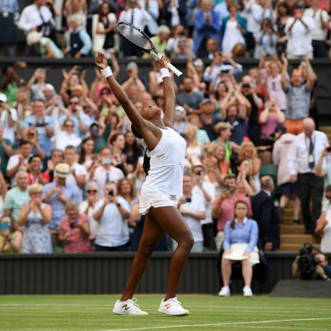 5 July 2019: Coco Gauff of the United States celebrates match point in her third-round game against Polona Hercog of Slovenia at Wimbledon. Earlier, Gauff saved two match points and went on to win the game in three sets. (Photograph by Shaun Botterill/Getty Images)