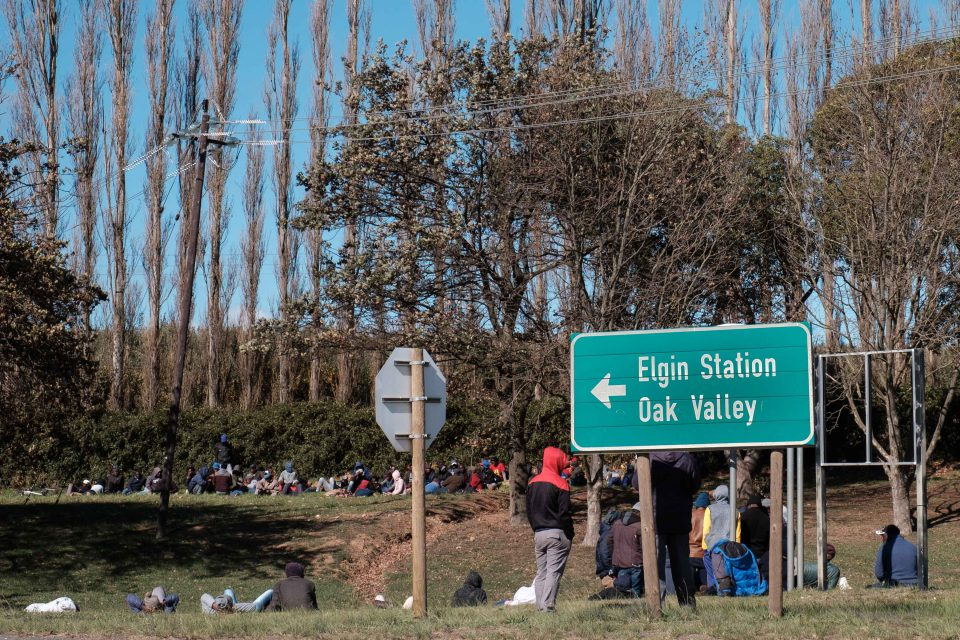 21 May 2019: Striking farm workers from Oak Valley Estate waiting for feedback from their union. Some have sought a court order for improved housing and living conditions.