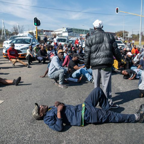 19 June 2019: Protesting residents from Alexandra township blocking streets on their way to City of Johannesburg's Sandton office.