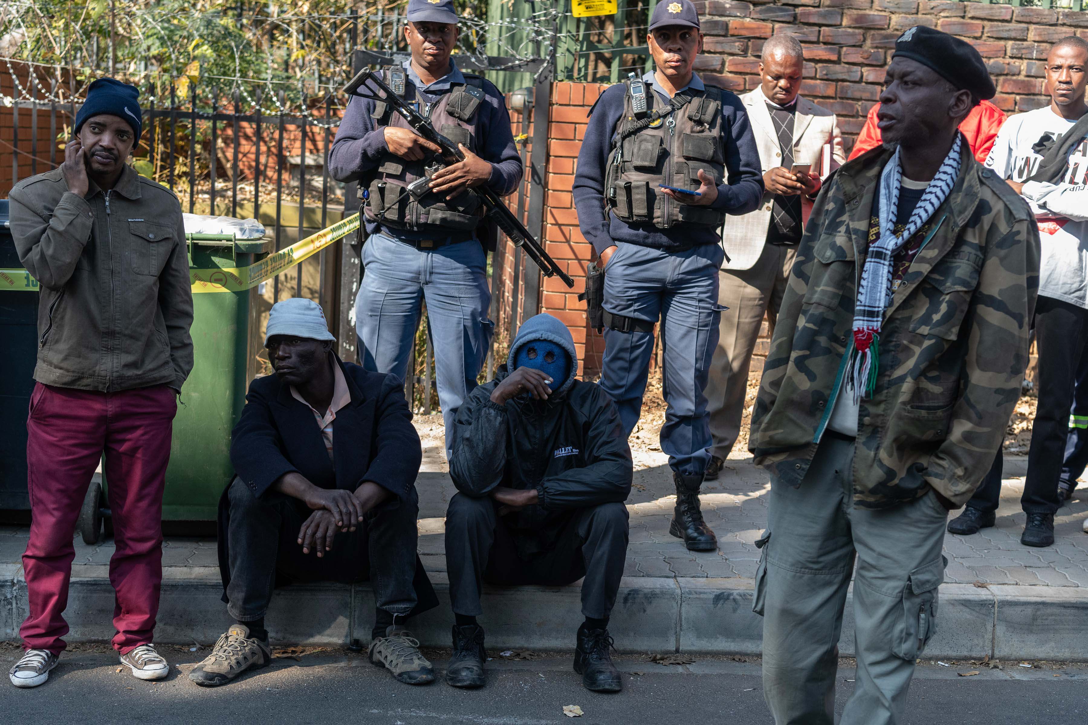 19 June 2019: Police standing guard as furious Alexandra residents wait to hand over their memorandum as part of the #AlexShutdown protest.