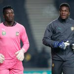 20 November 2018: André Onana (left) and Fabrice Ondoa of Cameroon at an international friendly against Brazil at the Stadium MK in Milton Keynes, England. (Photograph by Cees van Hoogdalem/Soccrates/Getty Images)