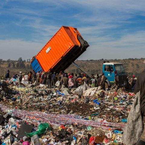 18 July 2019: Waiting for a new load of waste to be dumped at the New England Road landfill site in Pietermaritzburg. There are 2 000 to 2 500 waste pickers at the dump each day, according to environmental justice group groundWork.