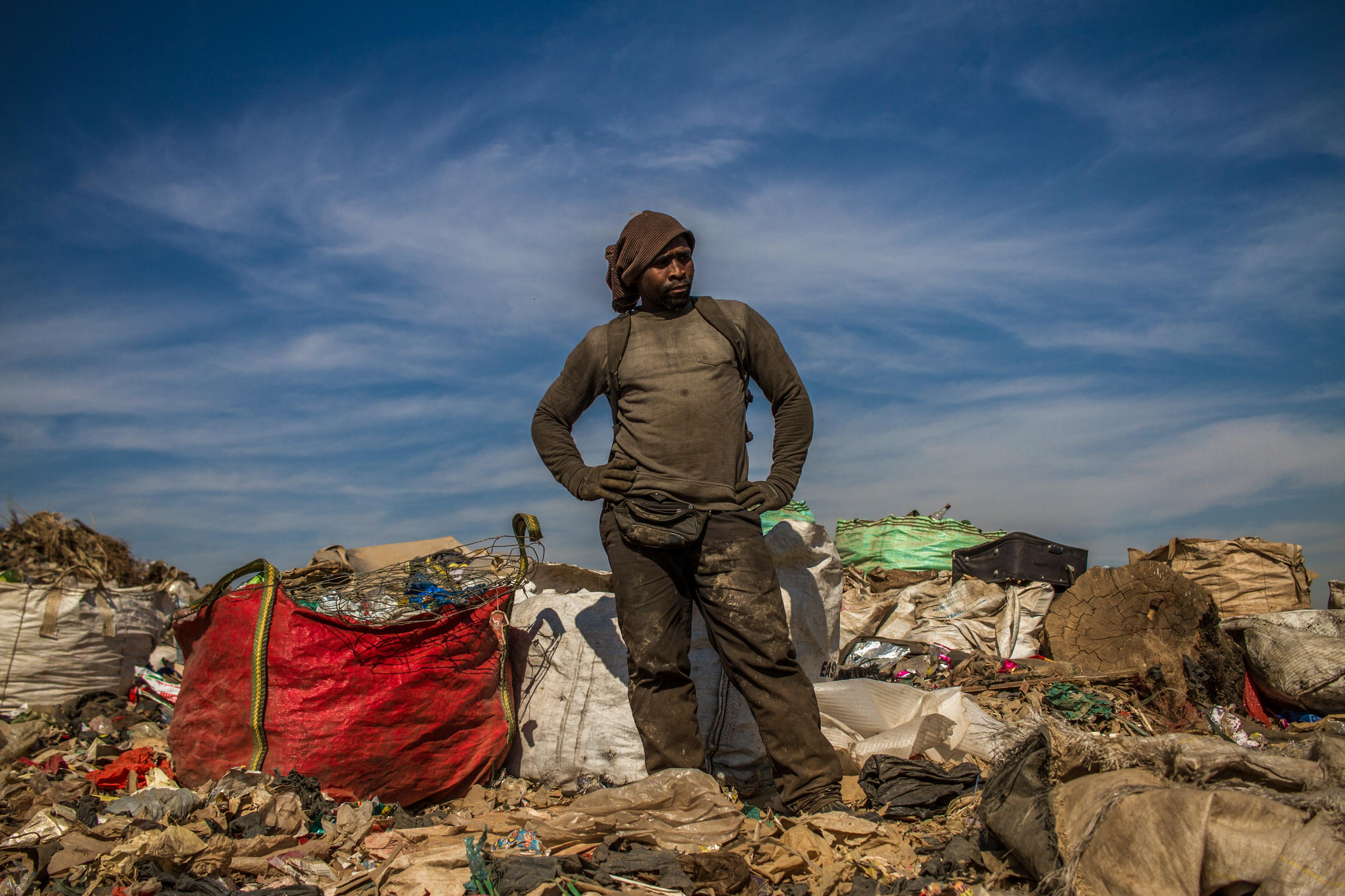 18 July 2019: Xolani Gcina came to Pietermaritzburg from Lesotho in search of work, but ended up sorting and selling waste from the New England Road dump in Pietermaritzburg.