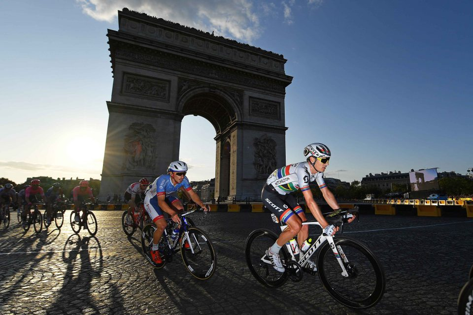 28 July 2019: Daryl Impey of South Africa and the Mitchelton-Scott team cycles past the Arc de Triomphe during stage 21 of the 106th Tour de France in Paris, France. (Photograph by Justin Setterfield/Getty Images)
