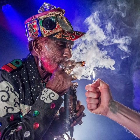 8 April 2018: Jamaican reggae musician, singer and producer Lee 'Scratch' Perry performs at Poppodium De Flux, Zaandam, The Netherlands. (Photograph by Paul Bergen/Redferns)