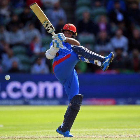8 June 2019: Hashmatullah Shahidi of Afghanistan at the crease during their ICC Cricket World Cup group stage match against New Zealand at the County Ground in Taunton, England. (Photograph by Alex Davidson/Getty Images)