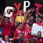 30 June 2019: Egyptian fans at the match between Uganda and Egypt during the group stage of the Africa Cup of Nations at Cairo International Stadium in Egypt. (Photograph by Visionhaus)