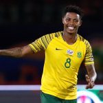 28 June 2019: South Africa's Bongani Zungu celebrates his goal against Namibia at Al Salam Stadium in Cairo, Egypt, during the Africa Cup of Nations. (Photograph by Reuters/Amr Abdallah Dalsh)