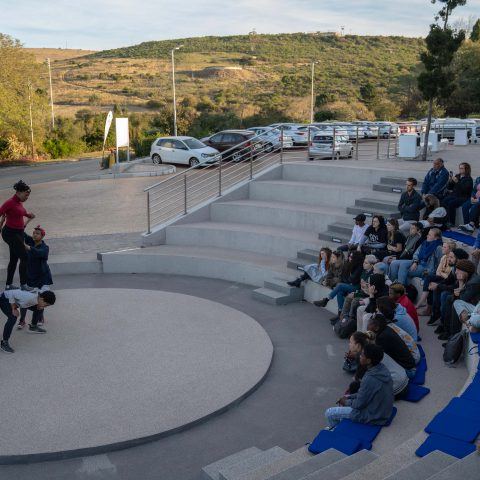 29 June 2019: Cast members performing Burning Rebellion, an ecological protest poem put on by the Well Worn Theatre Company at the National Arts Festival in Makhanda.