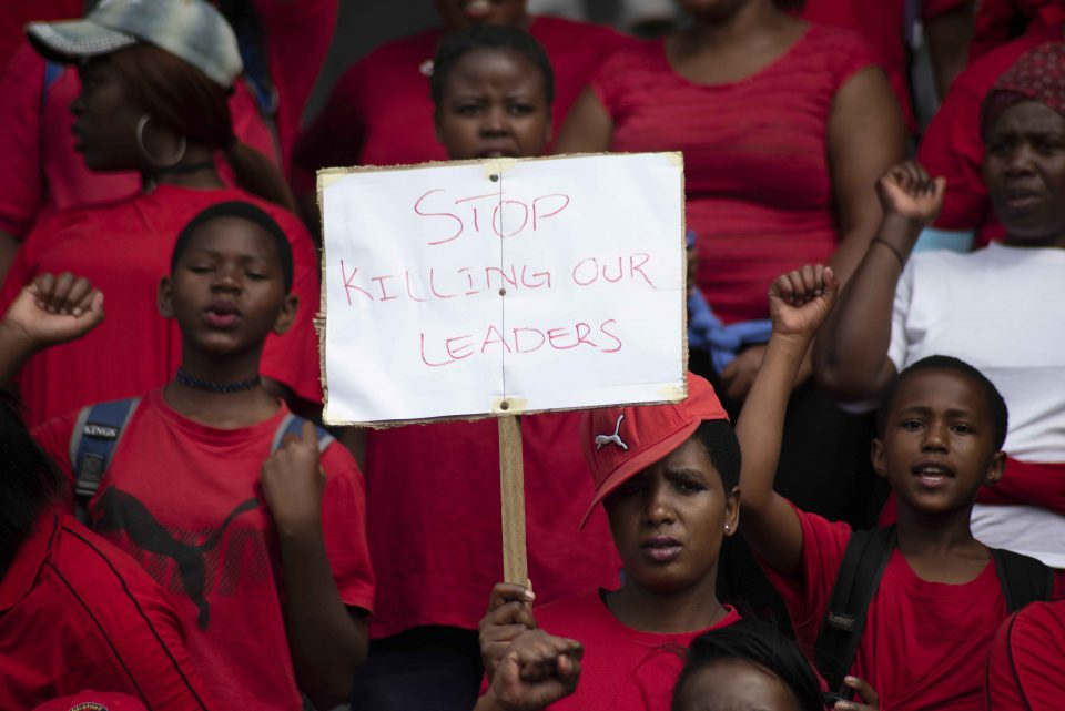 8 October 2018: Abahlali baseMjondolo members marching to Durban City Hall in protest against the alleged murders of its members. The shack dwellers' movement has paid a heavy price for organising land occupations in opposition to the ruling party.