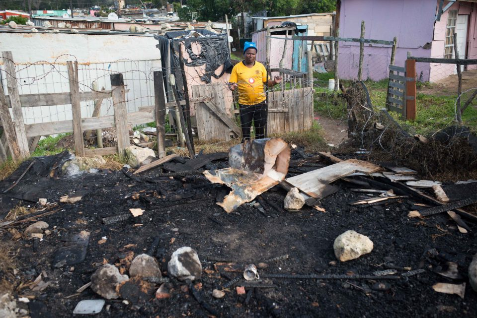 3 July 2019: Nkosivumile Ntukela, the chairperson of the local area committee, at the site where the shack next door to his used to stand.