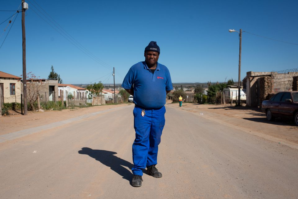 30 July 2019: Vuyisile Sikani, the co-ordinator of the Sunday's River Valley Worker's Forum, on a road near Addo.