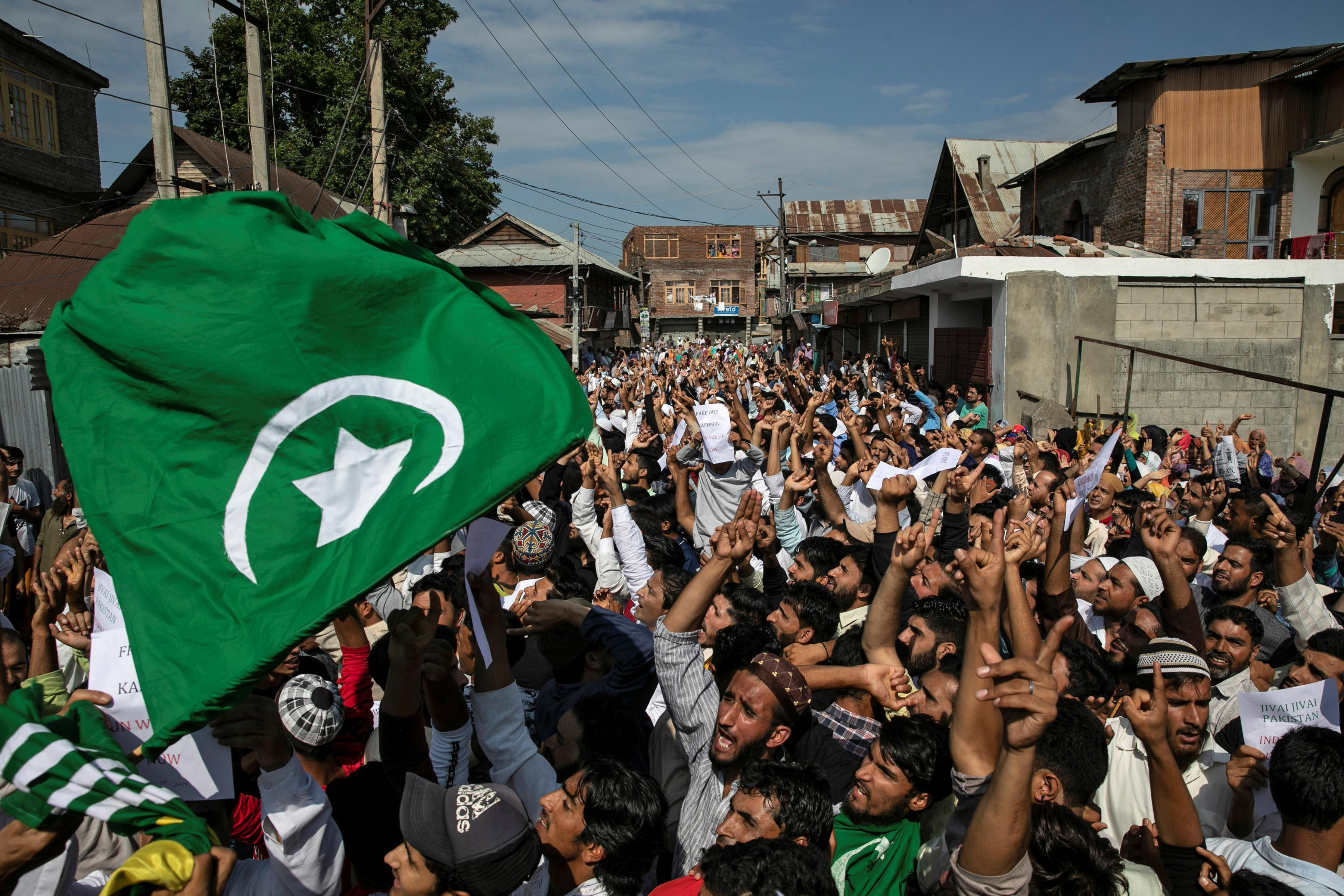 12 August 2019: Despite Indian government restrictions, Kashmiris protest in Srinagar after Eid al-Adha prayers. (Photograph by Reuters/Danish Siddiqui)