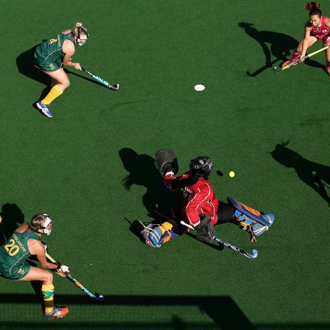 22 July 2017: South Africa goalkeeper Phumelela Mbande blocks a shot at goal during the FIH Hockey World League Women's Semifinals 5th/6th place match between South Africa and Japan in Johannesburg. (Photograph by Jan Kruger/Getty Images for FIH)