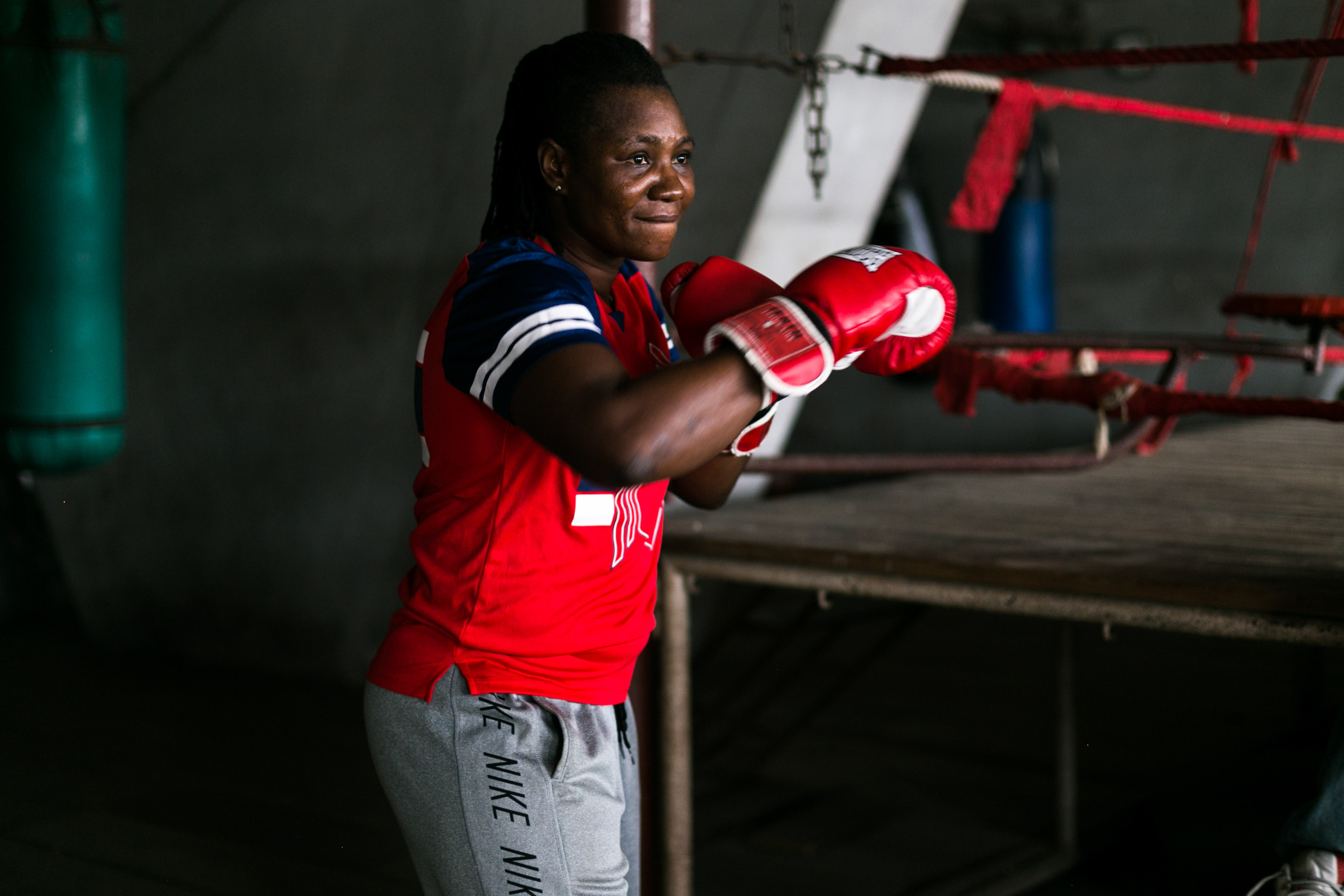 11 July 2019: Edith Agu Ogoke warming up for a sparring session in the National Stadium gym.
