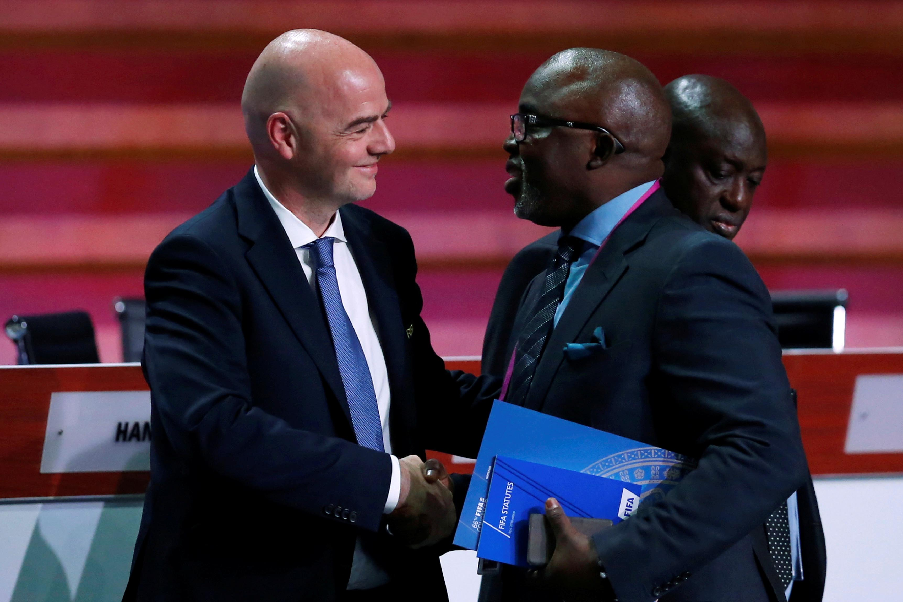13 May 2016: Fifa president Gianni Infantino and Nigeria Football Federation president Amaju Pinnick at the 66th Fifa Congress in Mexico City, Mexico. (Photograph by Reuters/Edgard Garrido)