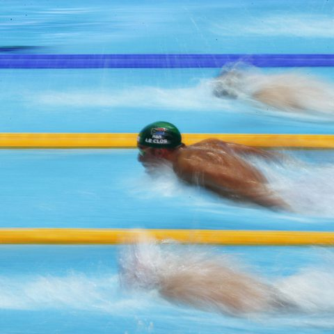 26 July 2019: Chad le Clos competing in a men's 100m butterfly heat at the Fina World Swimming Championships at the Nambu University Municipal Aquatics Center in Gwangju, South Korea. (Photograph by Reuters/Kim Hong-Ji)