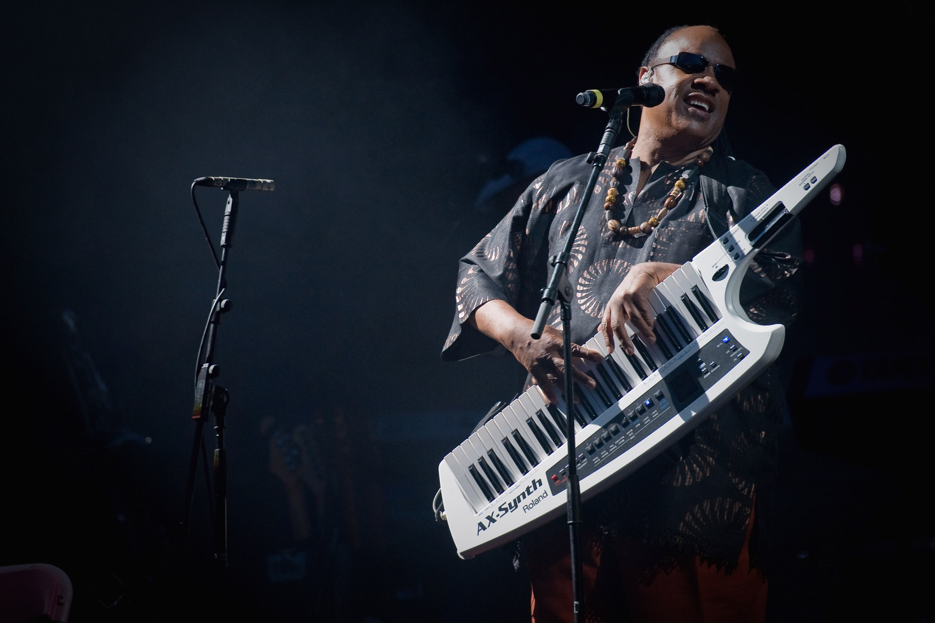 27 June 2010: Stevie Wonder performing on the Pyramid Stage at the Glastonbury Festival in England. (Photograph by Ian Gavan/Getty Images)