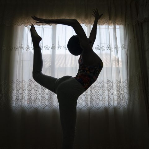 28 June 2019: Orapeleng Vivian is a budding acrobatic gymnast who has been relying on makeshift equipment and YouTube videos to teach herself. (Photograph by Madelene Cronjé)
