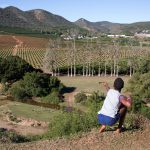 """27 May 2018: A child shoots his """"kettie"""" at friends near an orange plantation in Patensie in the Eastern Cape. (Photograph by James Oatway)"""