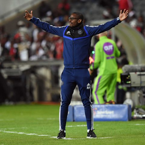17 August 2019: Orlando Pirates coach Rhulani Mokwena during the MTN 8 quarterfinal between Pirates and Highlands Park at Orlando Stadium. (Photograph by Gallo Images)