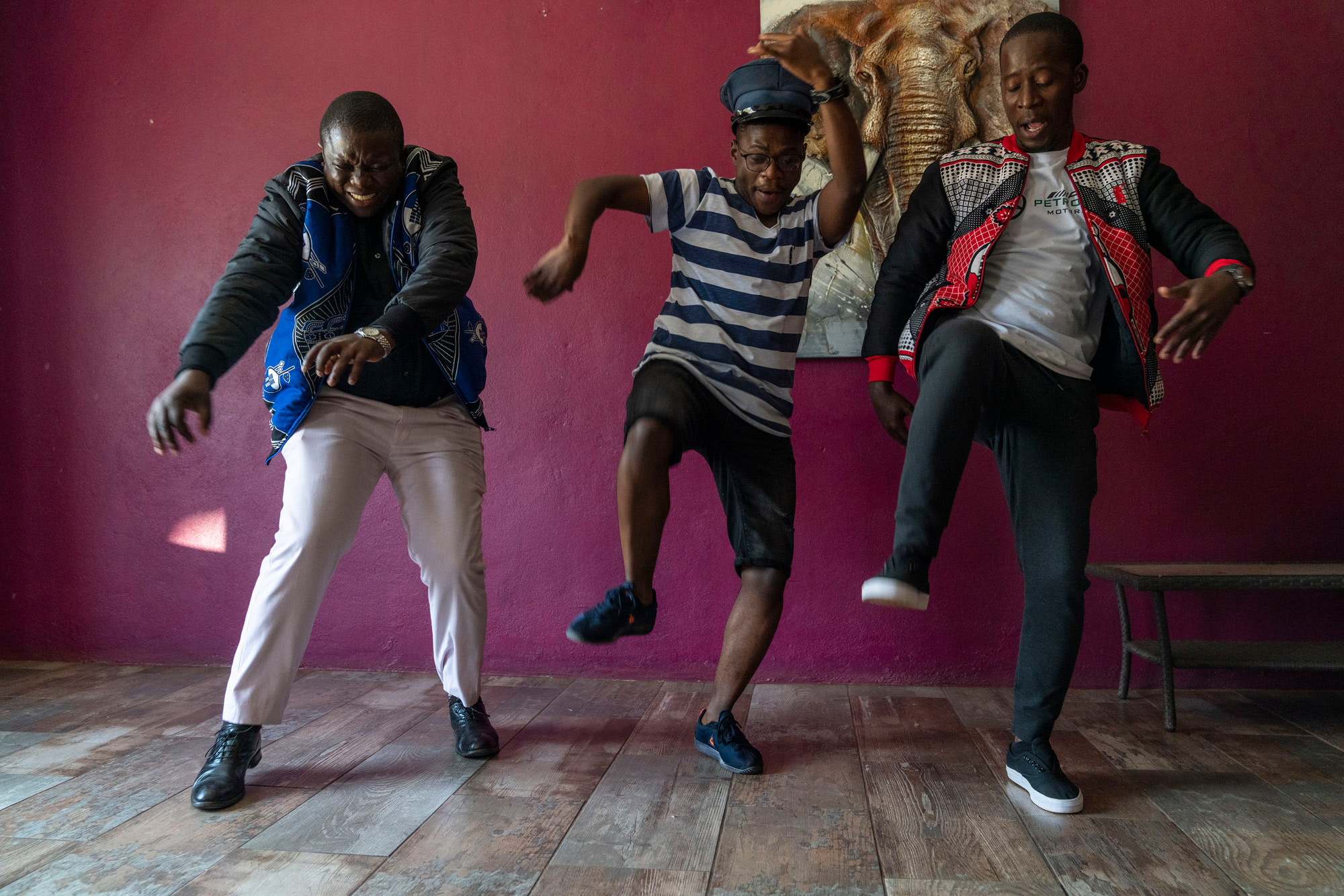 7 August 2019: Gedlembane, Smallz and S'lwane showing off some of their popular dance moves.