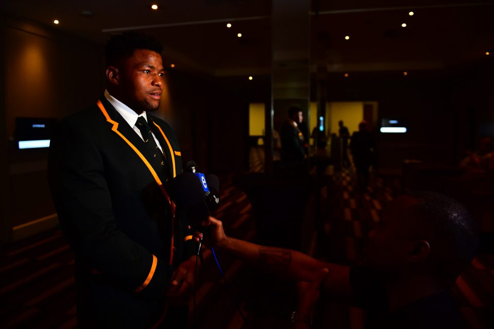 15 August 2019: Lizo Gqoboka during a Springbok rugby media briefing at the Southern Sun Pretoria hotel in Tshwane, South Africa. (Photograph by Johan Rynners/Gallo Images)