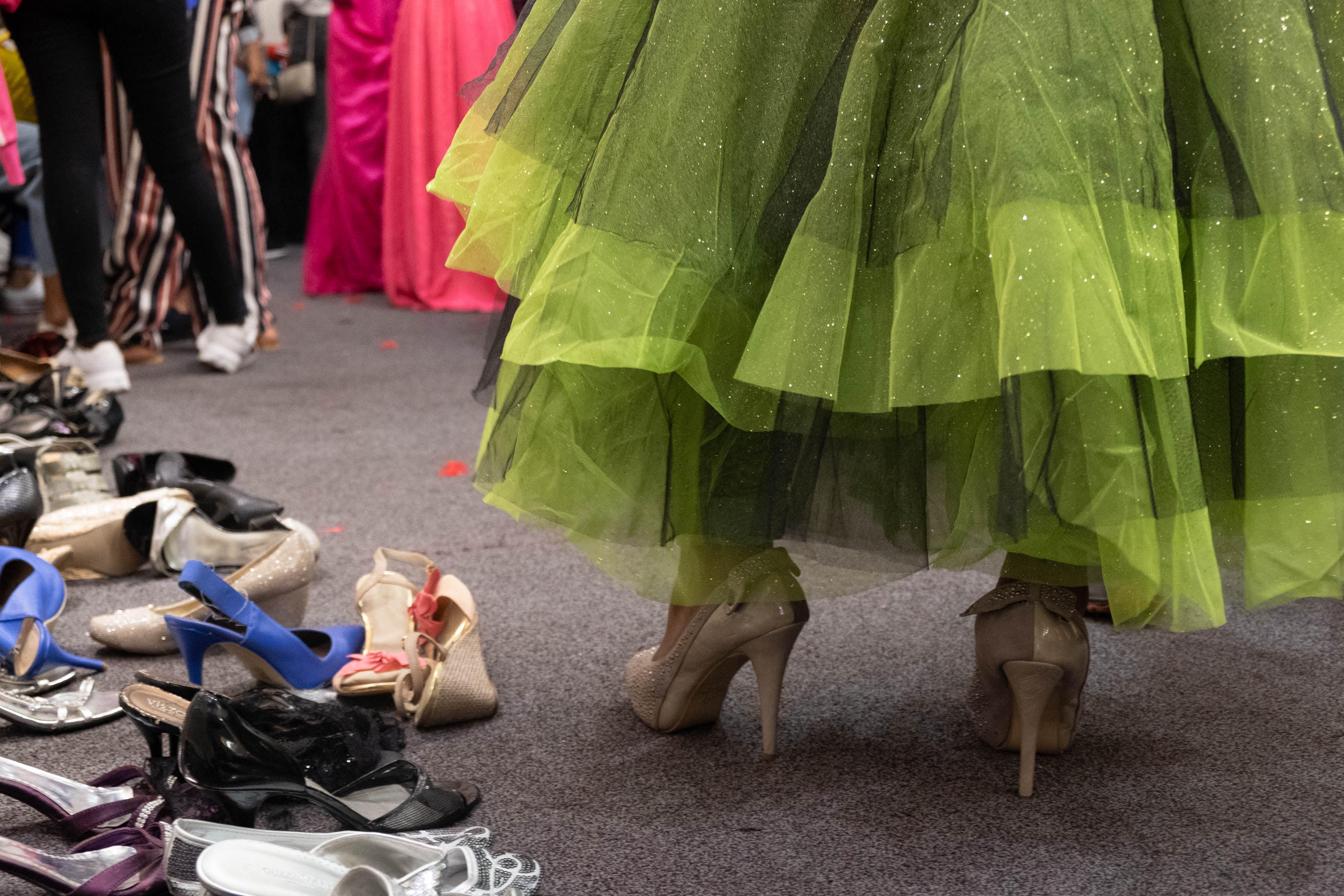 9 August 2019: A high school learner tries on a pair of high heels. The NGO offers matriculants various accessories to go with their dresses.