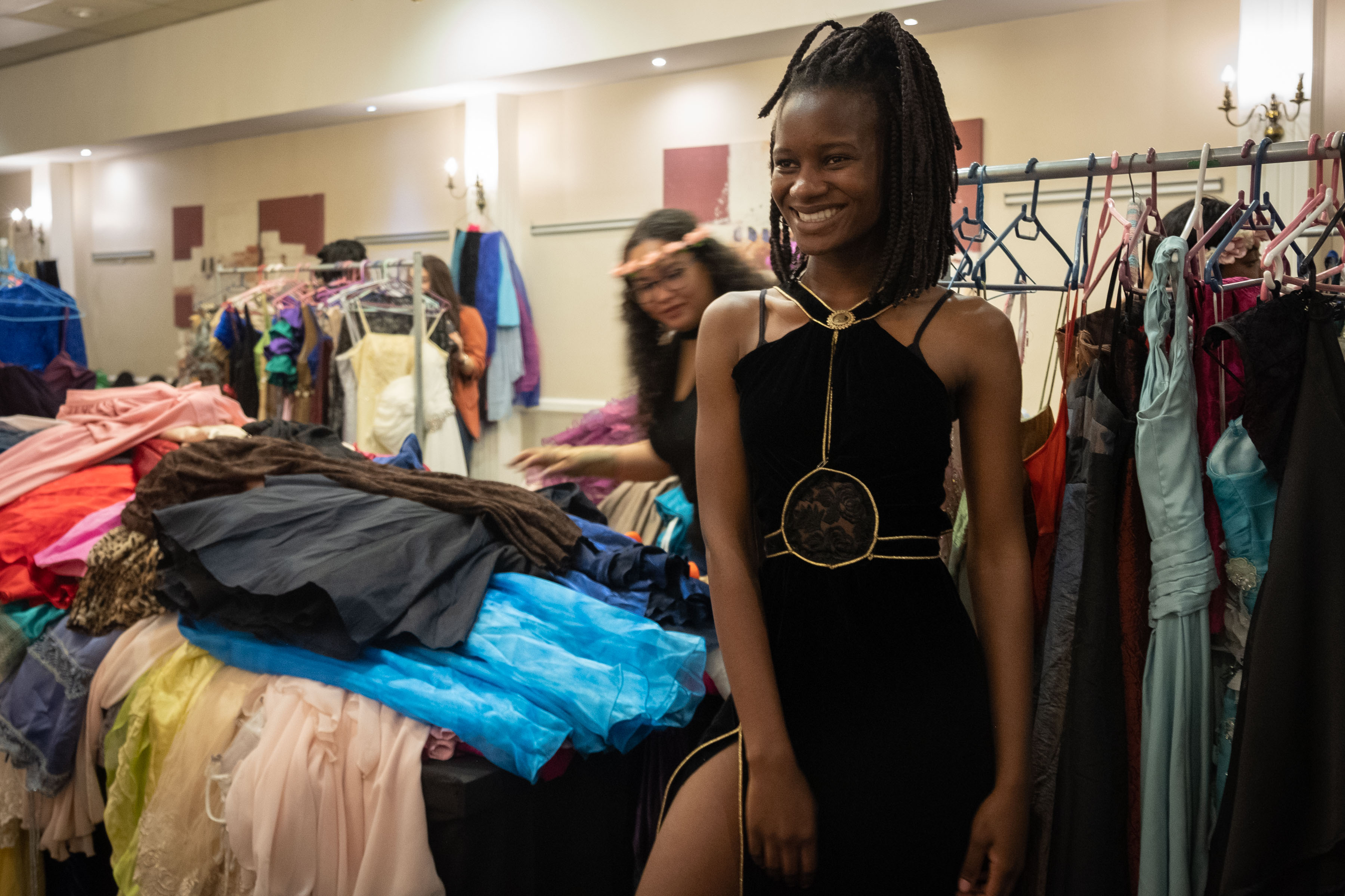 9 August 2019: Goodness Muntswu tries out a dress she may wear to her matric dance. She can borrow the outfit free of charge and has three weeks after the event to return it.