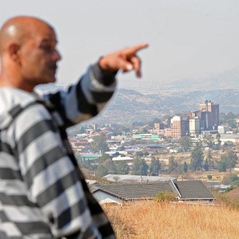 7 August 2019: Omesh Pithamber lives on a hill overlooking Estcourt and the now silent Evowood factory.
