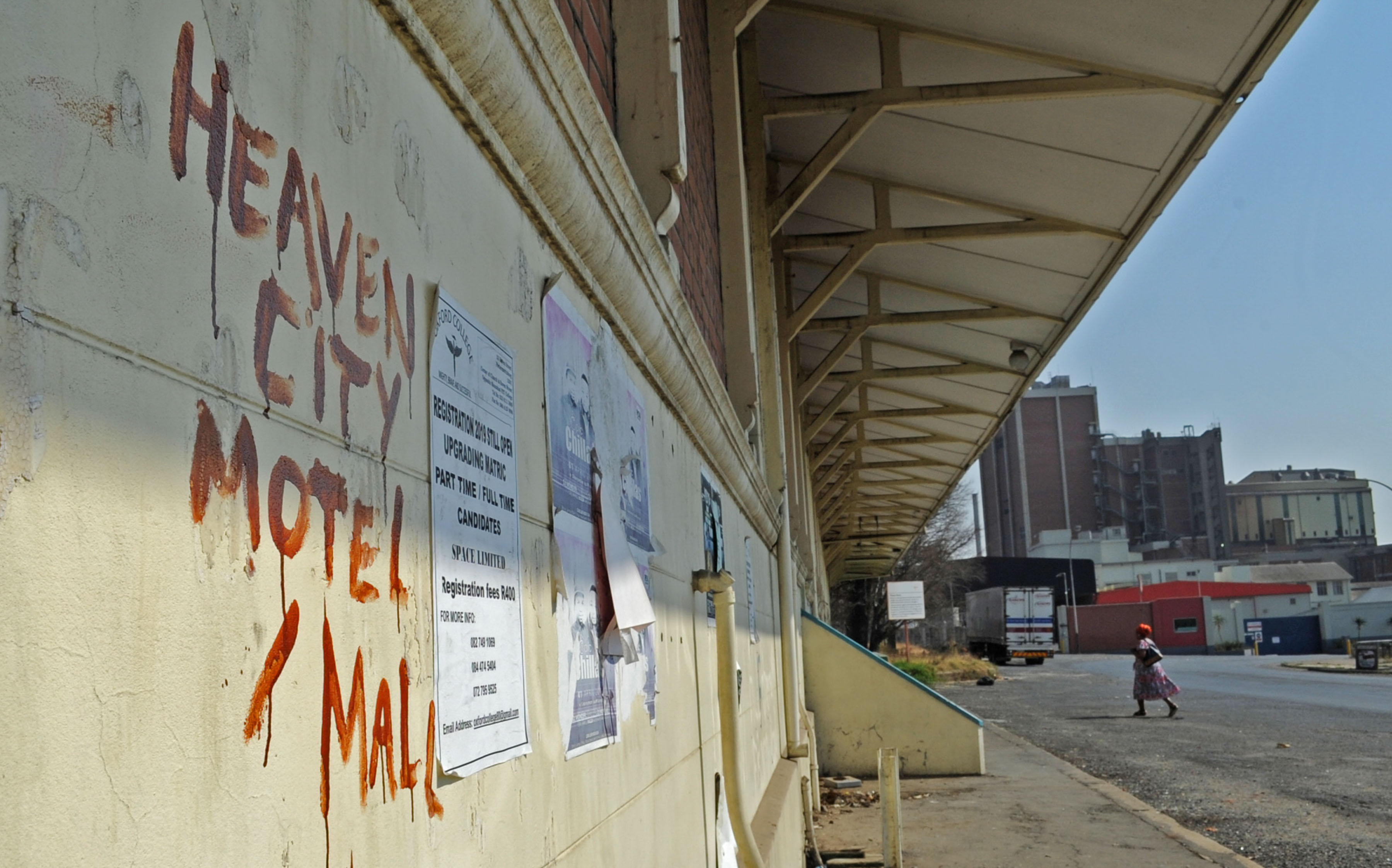 7 August 2019: The defaced facade of the train station in Estcourt. Unemployment is at a record high with minimal job prospects in the town.