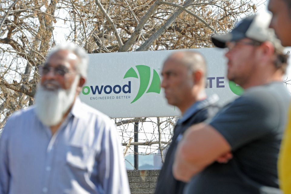 7 August 2019: Former Evowood workers outside the factory that was their livelihood.