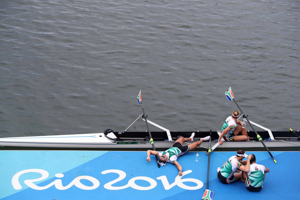 12 August 2016: The South African rowers after competing in the men's four final A at the Olympic Games in Rio de Janeiro, Brazil. (Photograph by Ezra Shaw/Getty Images)