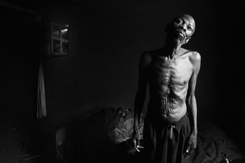 Mokete Bokako has a speech defect that was allegedly caused by complications from silicosis, an occupational lung disease that affects mineworkers. He worked on South Africa's gold mines for many years before he was retrenched. He now lives alone and in poverty in Roma, Lesotho. (Photographs by Leon Sadiki)