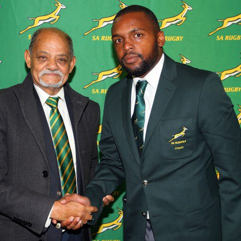 7 August 2019: Mziwakhe Nkosi (right) and Saru executive Tobie Titus at the SA Schools presentation ceremony at Paul Roos Gymnasium in Stellenbosch, South Africa. (Photograph by Carl Fourie/Gallo Images)