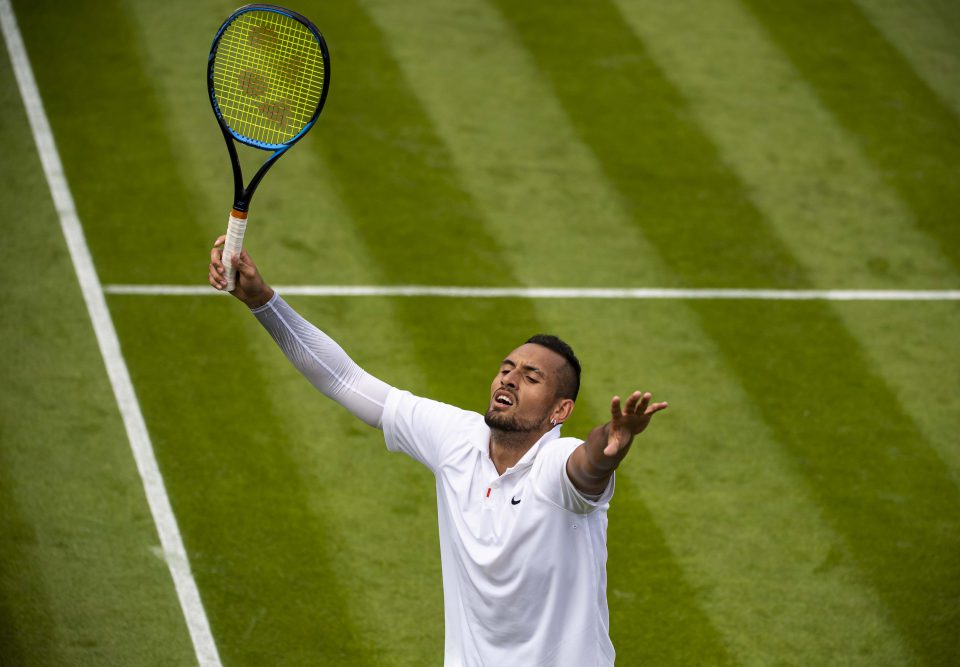 2 July 2019: Nick Kyrgios celebrates after winning the third set tiebreak 12-10 against fellow Australian Jordan Thompson in the first round of Wimbledon at the All England Club in London, England. Kyrgios went on to win the match in five sets. (Photograph by TPN/Getty Images)