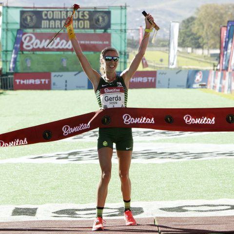 9 June 2019: Gerda Steyn set a new women's record for the Up Run of the Comrades Marathon at this year's event. (Photograph by Anesh Debiky/Gallo Images)