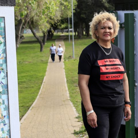 9 September 2019: Caroline Peters outside the entrance to Nantes Park in Bridgetown, Cape Town. Peters survived being gang raped in this park at the age of 15.