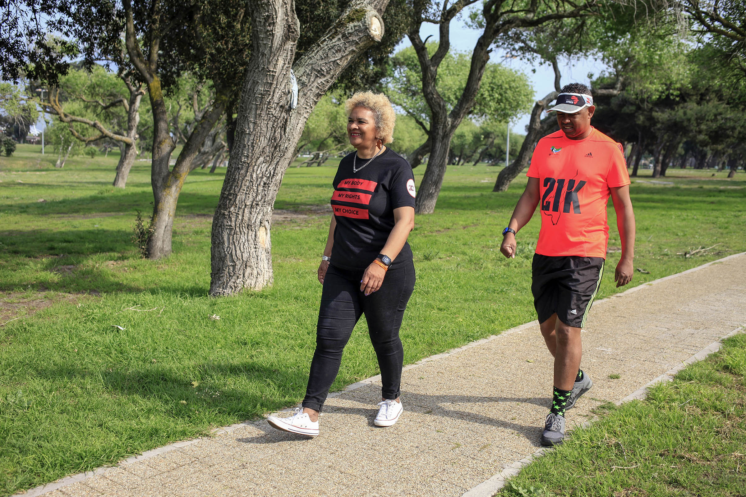 9 September 2019: Caroline Peters and her partner Gerald Paulse walking through Nantes park in Bridgetown, Cape Town. In 2014, in the year of her 50th birthday, Peters made history by becoming the first woman to start a running club in Cape Town.