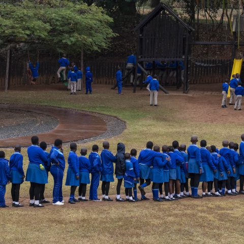 9 August 2019: Schoolkids from a primary school in eSwatini playing during a school outing near the capital city of Mbabane. The government spends between R650 and R725 a year per primary school learner.