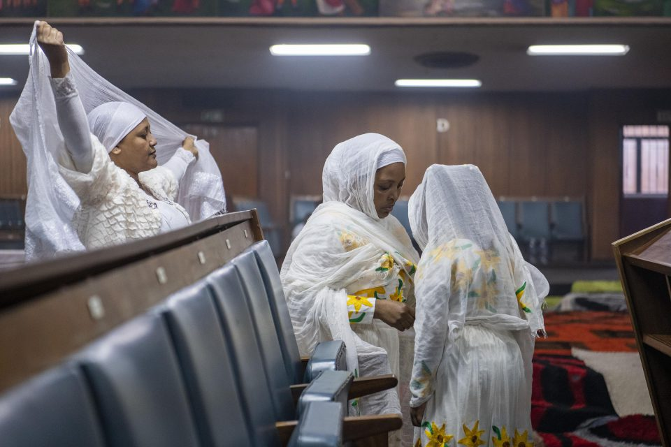 12 September 2019: Ethiopian women getting ready for the Enkuta'tash or Ethiopian New Year service at the Ethiopian Orthodox Tewahedo Church in Berea, Johannesburg.