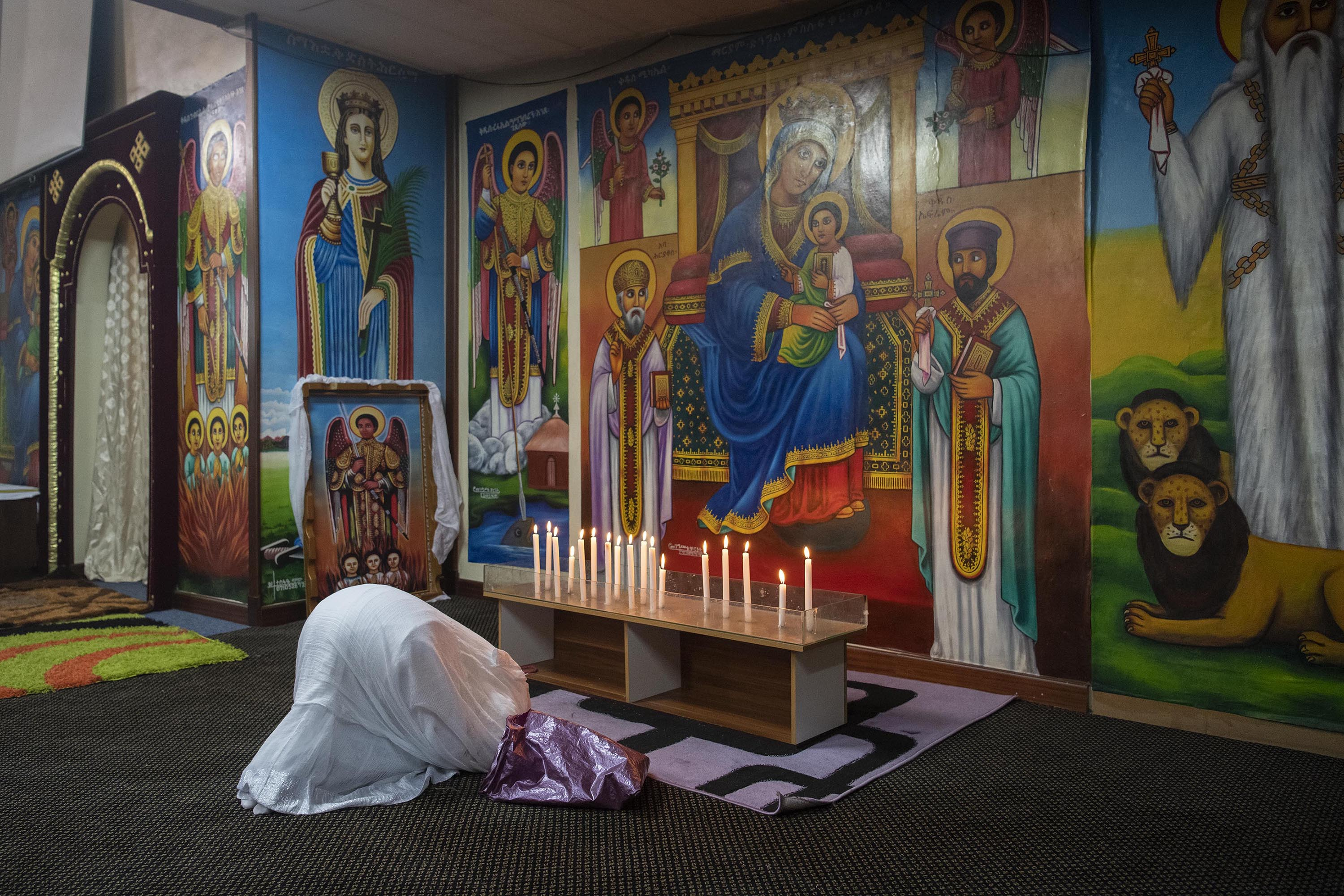 12 September 2019: An Ethiopian woman in prayer during the New Year service at the Ethiopian Orthodox Tewahedo Church in the Johannesburg suburb of Berea.