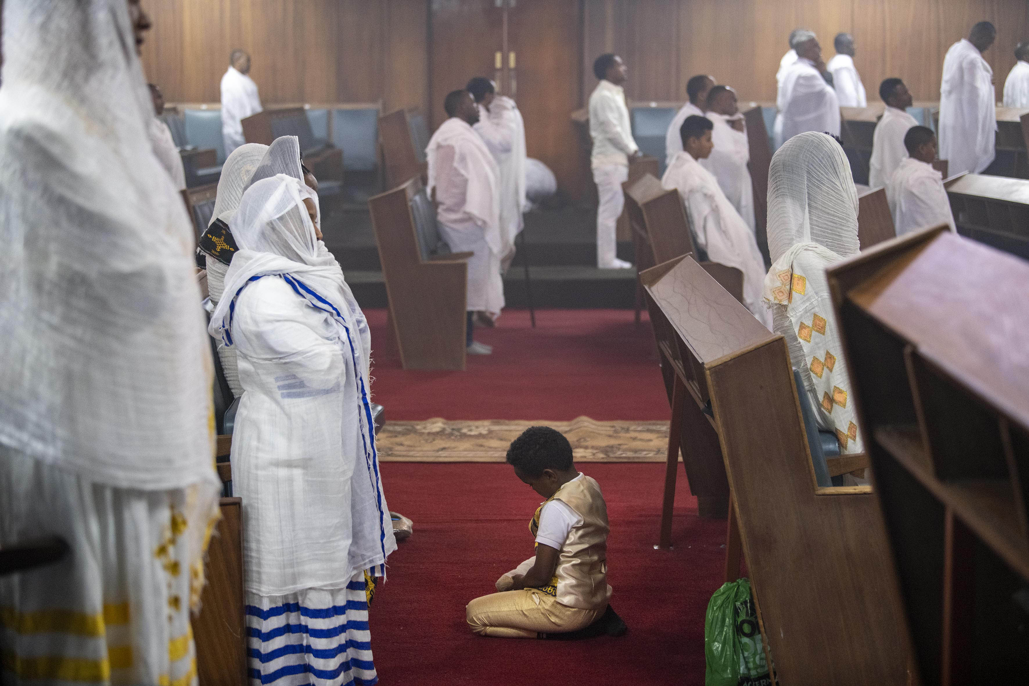 12 September 2019: Members of the Ethiopian community of Johannesburg in prayer at the Ethiopian Orthodox Tewahedo Church.