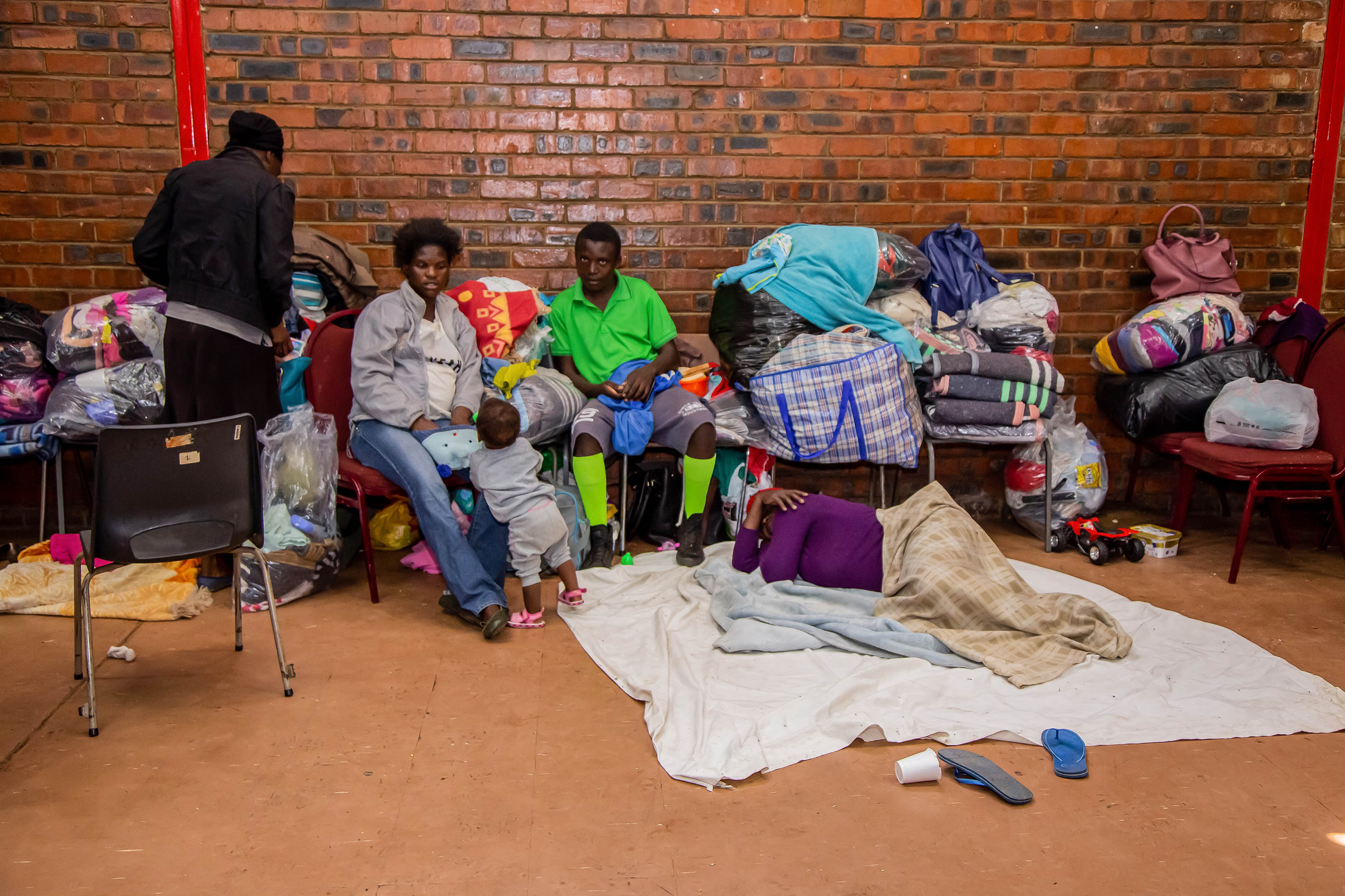 10 September 2019: Migrants displaced by xenophobic violence in Katlehong township near Johannesburg lost everything and have found temporary refuge at the Thulo Hall and other centres in the area. (Photograph by OJ Koloti/Gallo Images)