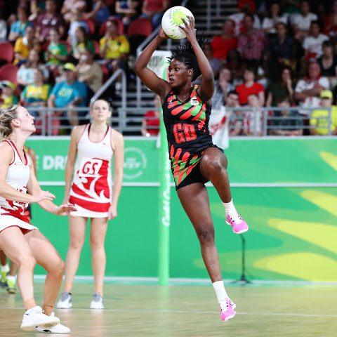 6 April 2018: Towera Vinkhumbo of Malawi catches the ball during their game against England on day two of the Gold Coast 2018 Commonwealth Games in Australia. (Photograph by Hannah Peters/Getty Images)