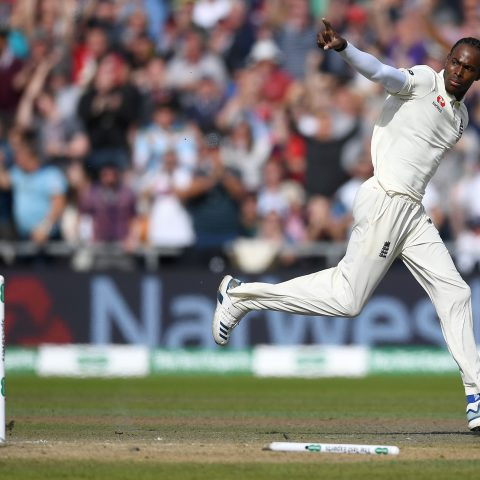 7 September 2019: Jofra Archer of England celebrates dismissing Travis Head of Australia during the fourth Ashes Test in Manchester, England. Archer is only the third black player to make his Test debut for the Three Lions since 1999. (Photograph by Gareth Copley/Getty Images)
