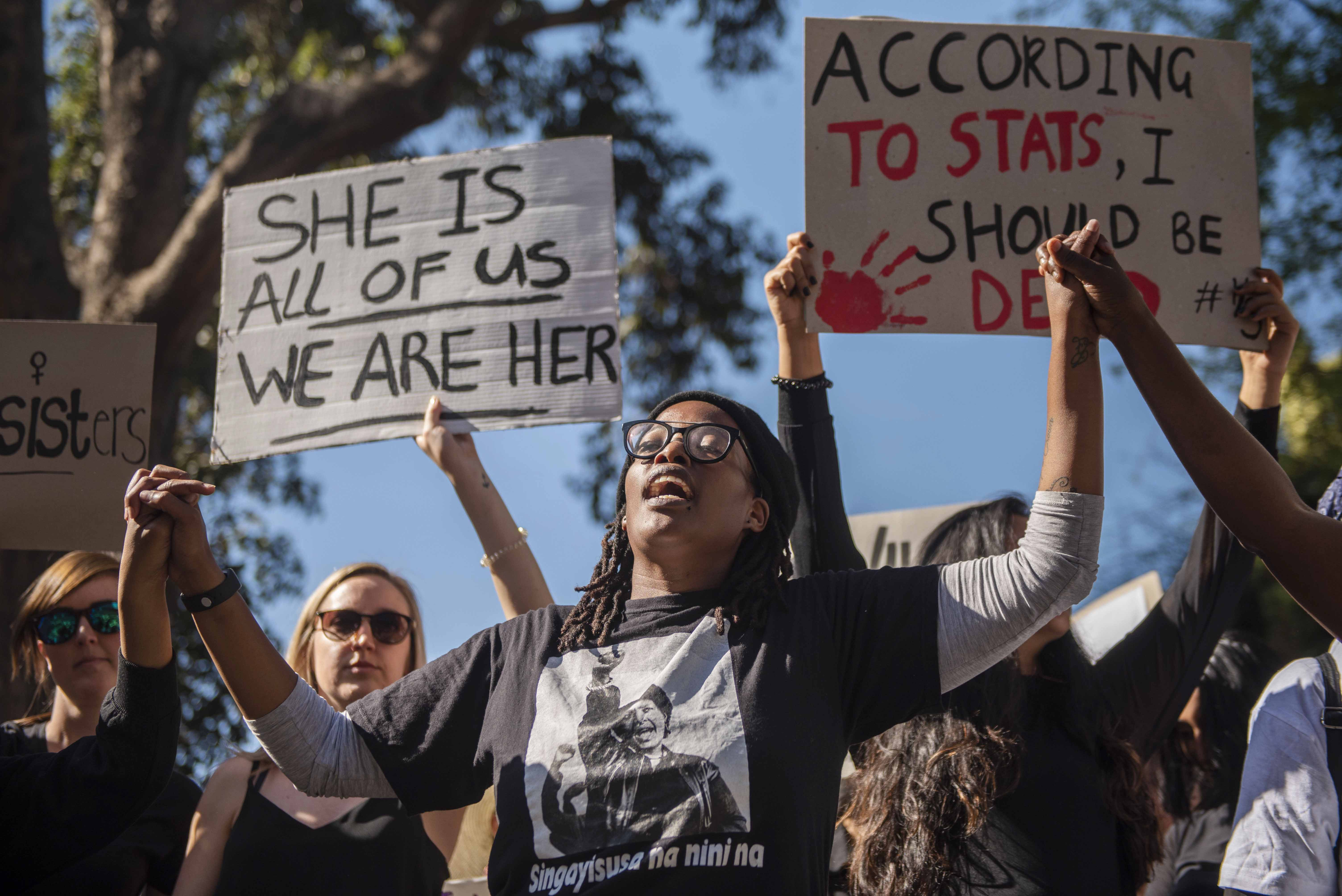 13 September 2019: Protesters at a march at the JSE in Sandton responding to the general scourge of gender-based violence in South Africa. (Photograph by Gallo Images/Alet Pretorius)