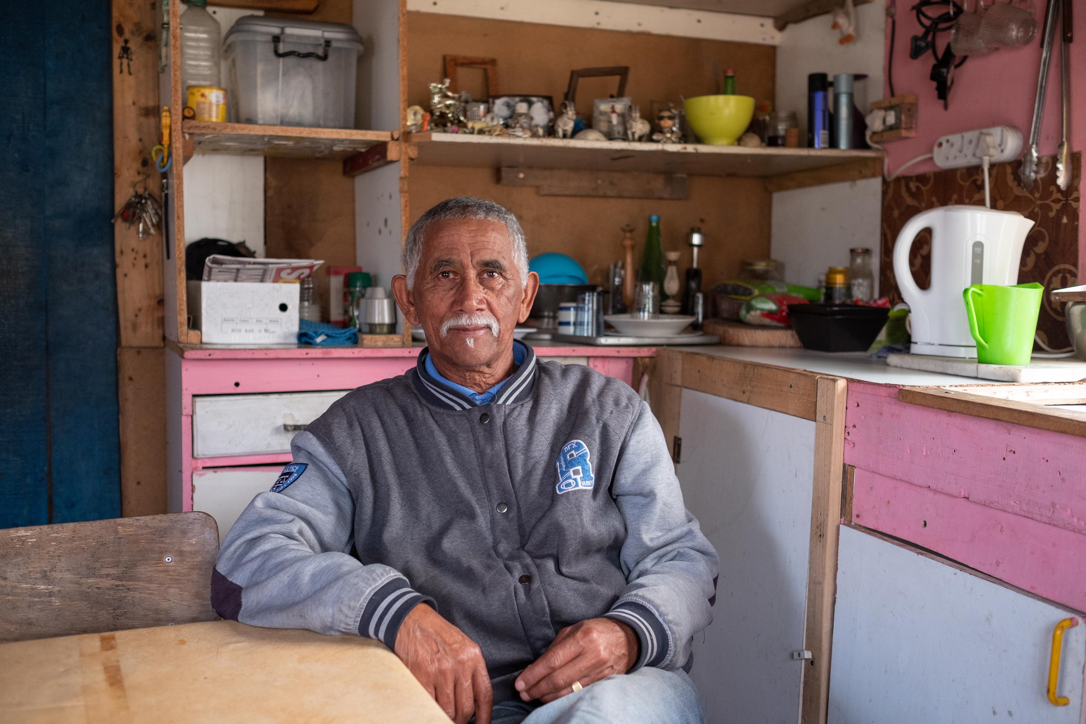 6 August 2019: Ernest Adriaanse, 71, at his home on the Klipfontein Mission Station. He started working at the age of nine, chopping wood to help support his family. All he wants now is to live in peace.