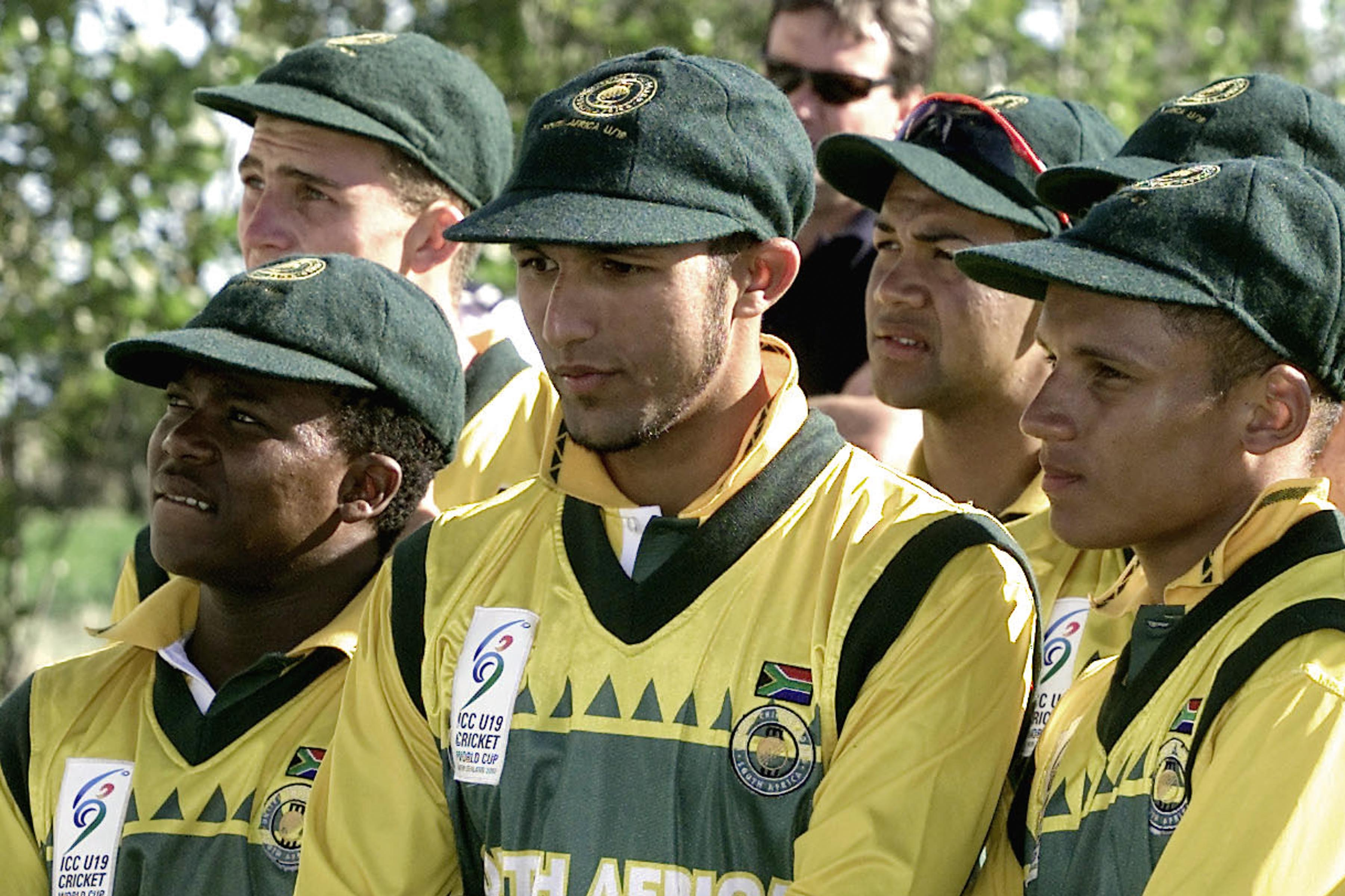9 February 2002: Under-19 captain Hashim Amla (centre) at the trophy presentation of the Under-19 Cricket World Cup. South Africa lost to Australia in the final at the Bert Sutcliffe Oval in Christchurch, New Zealand. (Photograph by Nigel Marple/Getty Images)